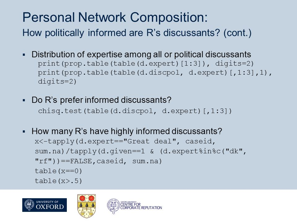 Personal Network Composition: How politically informed are R's discussants.