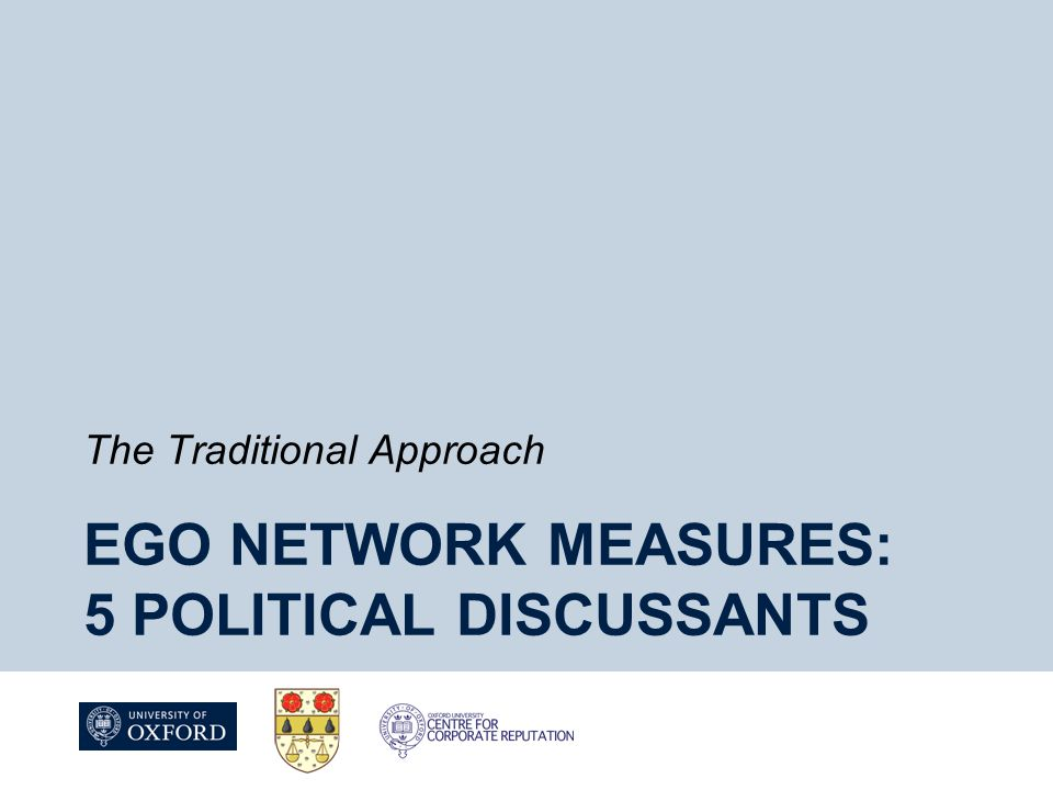 EGO NETWORK MEASURES: 5 POLITICAL DISCUSSANTS The Traditional Approach