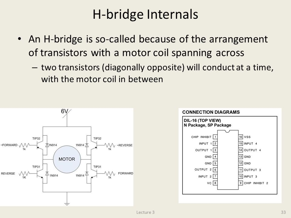H-bridge Internals An H-bridge is so-called because of the arrangement of transistors with a motor coil spanning across – two transistors (diagonally opposite) will conduct at a time, with the motor coil in between Lecture 333