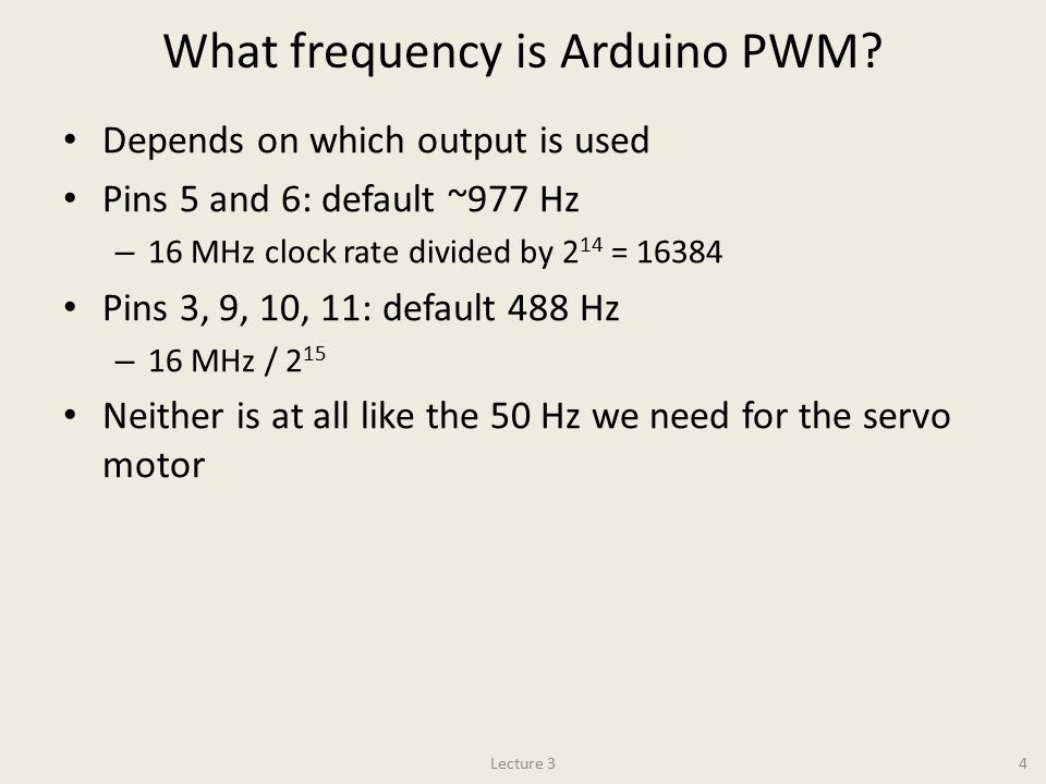 What frequency is Arduino PWM.