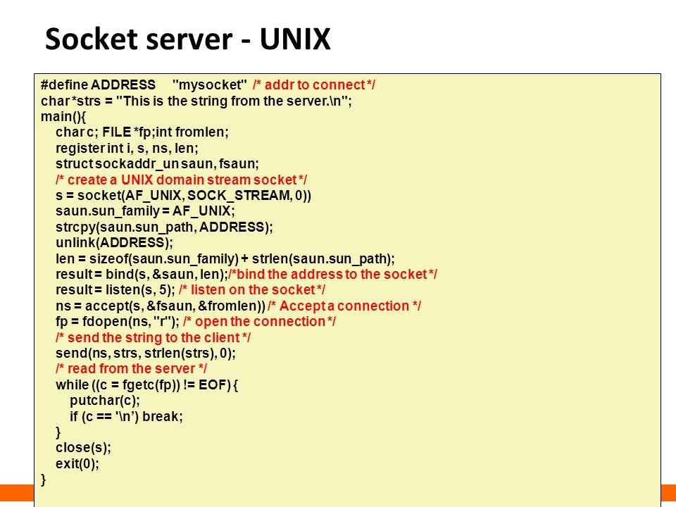Socket server - UNIX #define ADDRESS