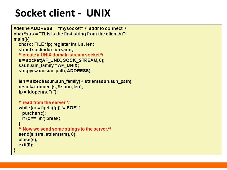 Socket client - UNIX #define ADDRESS