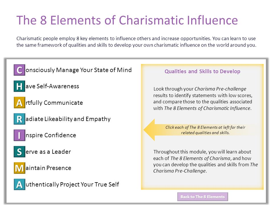 Back to The 8 Elements Back to The 8 Elements Qualities and Skills to Develop The 8 Elements of Charismatic Influence onsciously Manage Your State of Mind ave Self-Awareness rtfully Communicate adiate Likeability and Empathy nspire Confidence erve as a Leader aintain Presence uthentically Project Your True Self C H A R I S M A The 8 Elements of Charismatic Influence Charismatic people employ 8 key elements to influence others and increase opportunities.