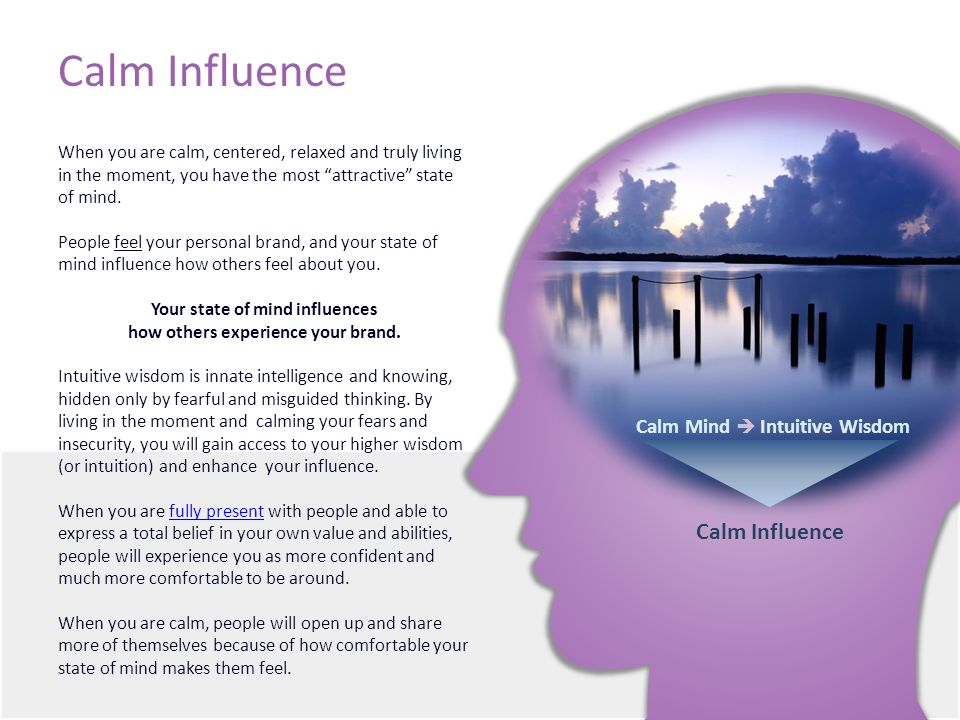 Calm Influence When you are calm, centered, relaxed and truly living in the moment, you have the most attractive state of mind.