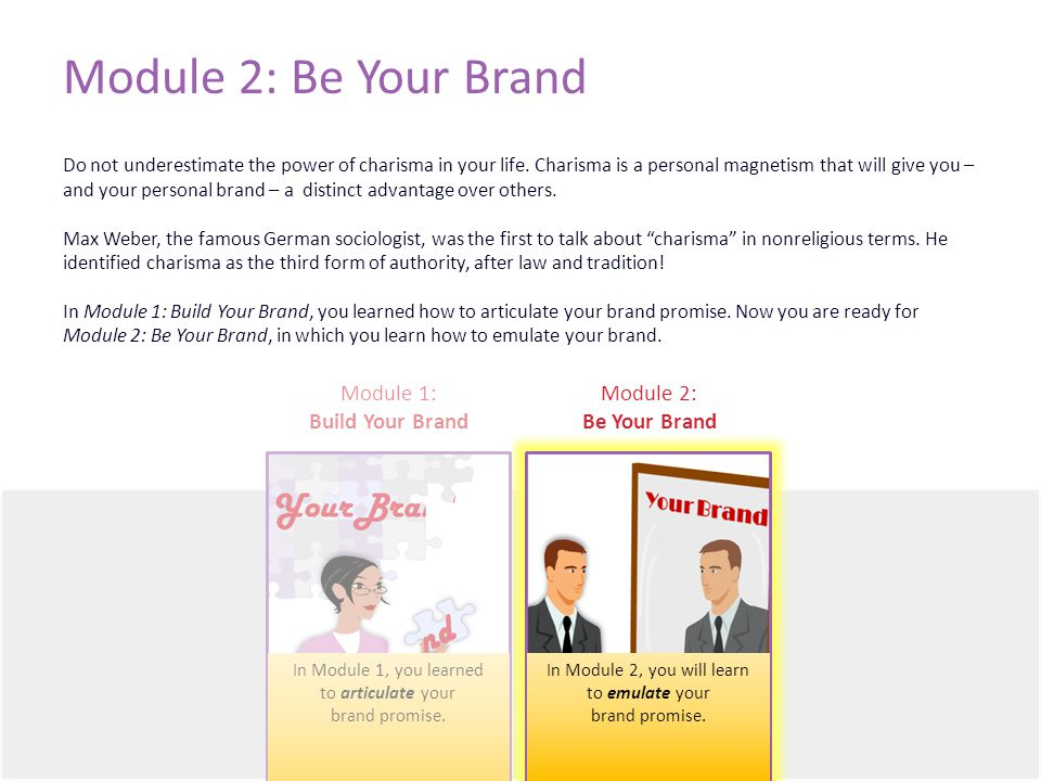 Module 2: Be Your Brand Do not underestimate the power of charisma in your life.