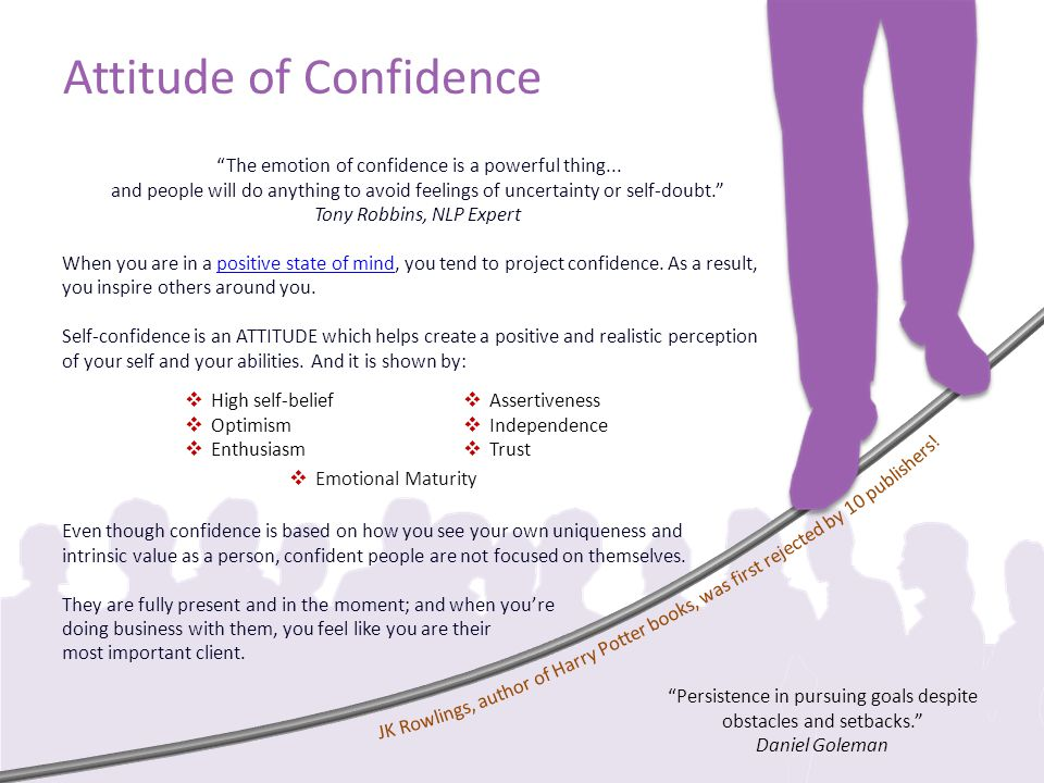 Attitude of Confidence The emotion of confidence is a powerful thing...