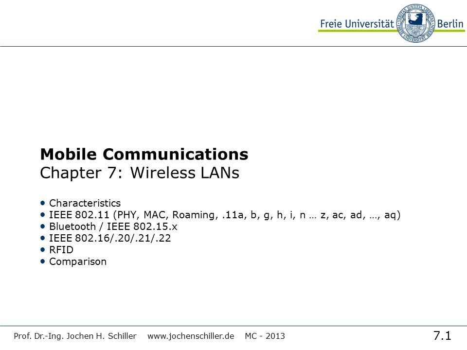 7.1 Prof. Dr.-Ing. Jochen H. Schiller www.jochenschiller.de MC - 2013 Mobile Communications Chapter 7: Wireless LANs Characteristics IEEE 802.11 (PHY,