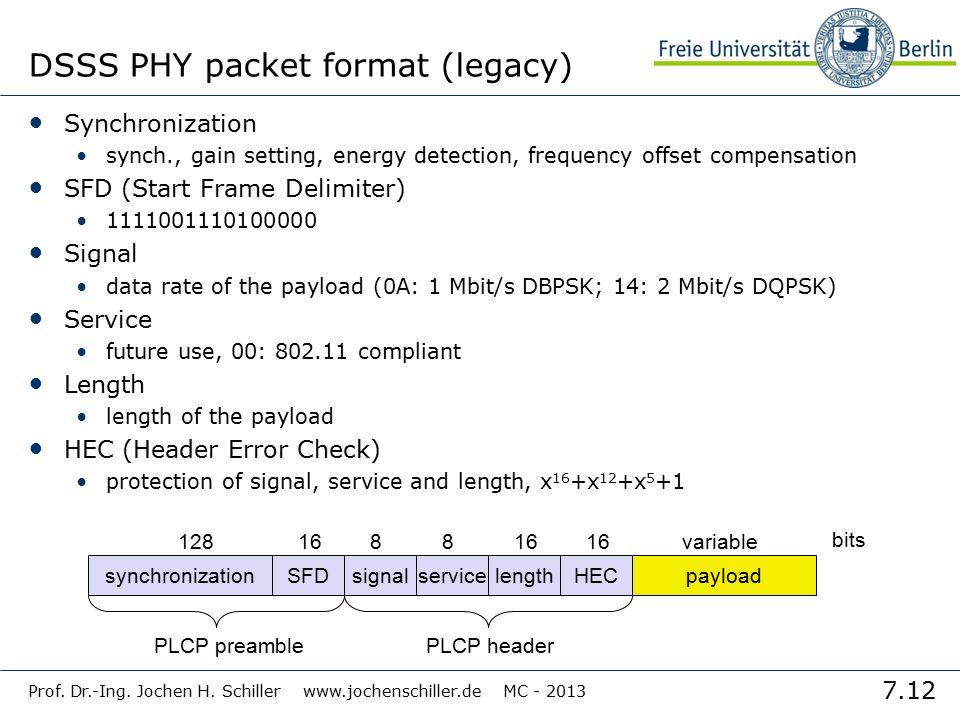 7.12 Prof. Dr.-Ing. Jochen H. Schiller www.jochenschiller.de MC - 2013 DSSS PHY packet format (legacy) Synchronization synch., gain setting, energy de