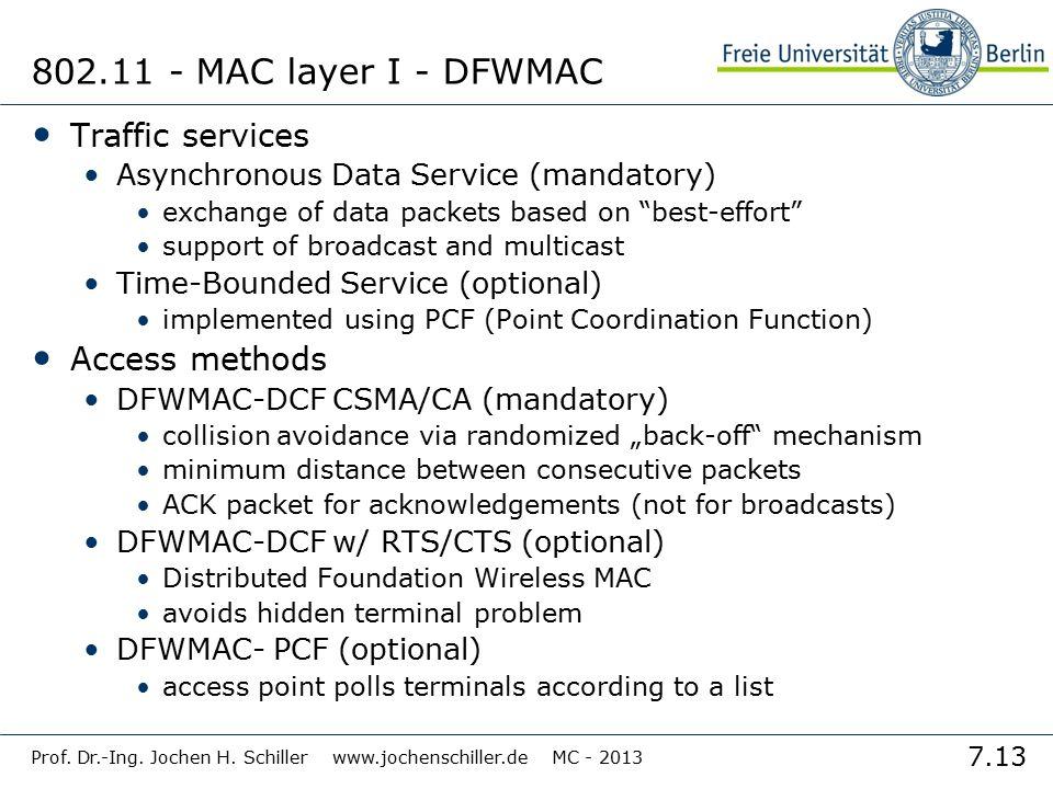 7.13 Prof. Dr.-Ing. Jochen H. Schiller www.jochenschiller.de MC - 2013 802.11 - MAC layer I - DFWMAC Traffic services Asynchronous Data Service (manda