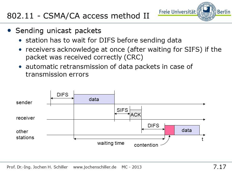 7.17 Prof. Dr.-Ing. Jochen H. Schiller www.jochenschiller.de MC - 2013 802.11 - CSMA/CA access method II Sending unicast packets station has to wait f