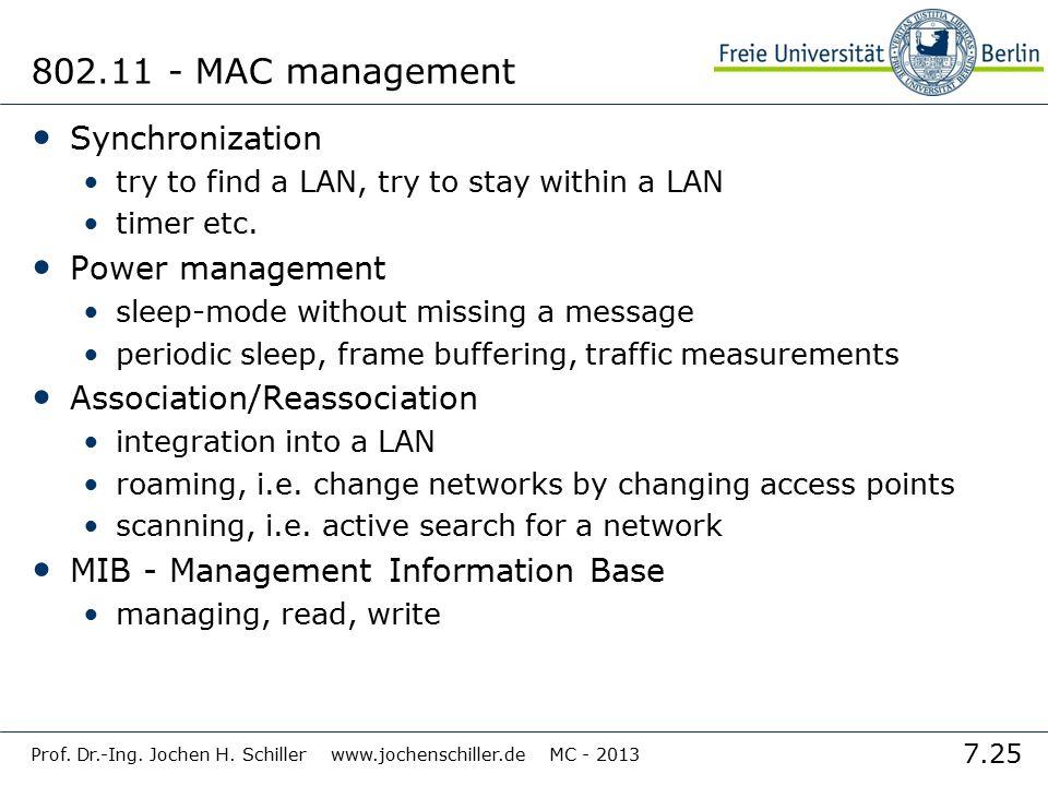 7.25 Prof. Dr.-Ing. Jochen H. Schiller www.jochenschiller.de MC - 2013 802.11 - MAC management Synchronization try to find a LAN, try to stay within a