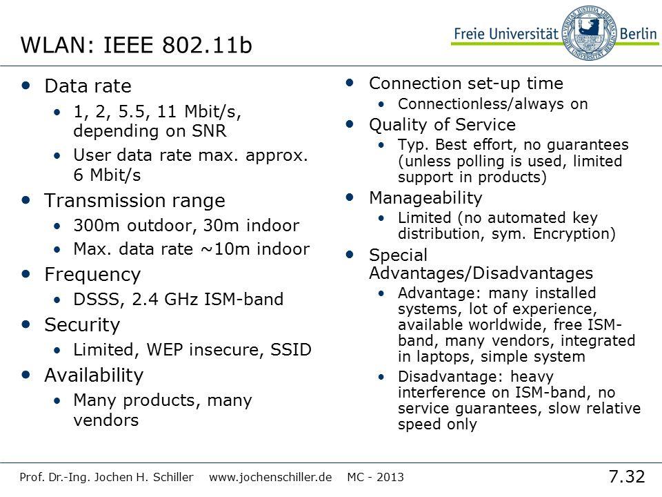 7.32 Prof. Dr.-Ing. Jochen H. Schiller www.jochenschiller.de MC - 2013 WLAN: IEEE 802.11b Data rate 1, 2, 5.5, 11 Mbit/s, depending on SNR User data r