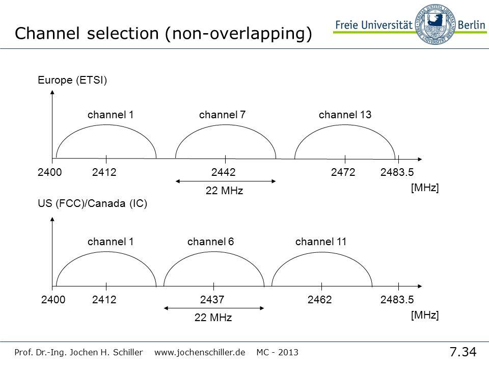 7.34 Prof. Dr.-Ing. Jochen H. Schiller www.jochenschiller.de MC - 2013 Channel selection (non-overlapping) 2400 [MHz] 24122483.524422472 channel 1chan