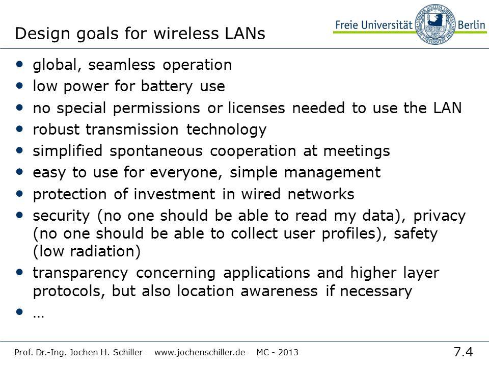 7.4 Prof. Dr.-Ing. Jochen H. Schiller www.jochenschiller.de MC - 2013 Design goals for wireless LANs global, seamless operation low power for battery