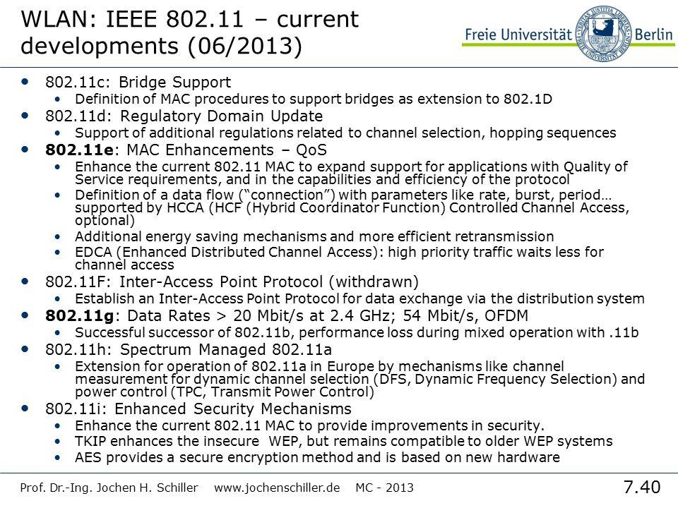 7.40 Prof. Dr.-Ing. Jochen H. Schiller www.jochenschiller.de MC - 2013 WLAN: IEEE 802.11 – current developments (06/2013) 802.11c: Bridge Support Defi