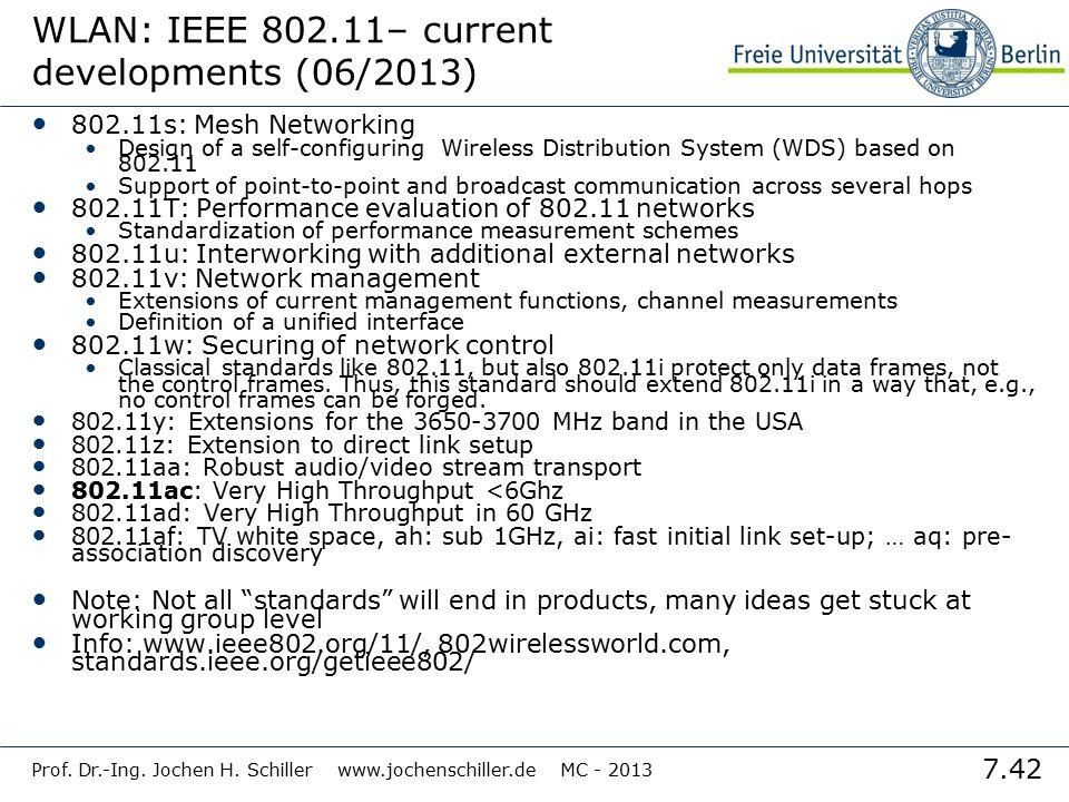 7.42 Prof. Dr.-Ing. Jochen H. Schiller www.jochenschiller.de MC - 2013 WLAN: IEEE 802.11– current developments (06/2013) 802.11s: Mesh Networking Desi