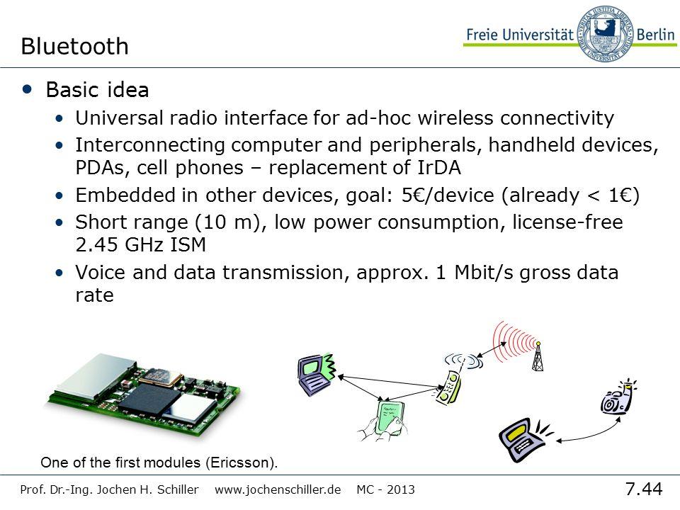7.44 Prof. Dr.-Ing. Jochen H. Schiller www.jochenschiller.de MC - 2013 Bluetooth Basic idea Universal radio interface for ad-hoc wireless connectivity