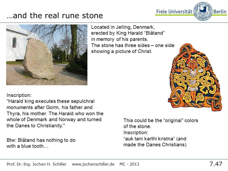 "7.47 Prof. Dr.-Ing. Jochen H. Schiller www.jochenschiller.de MC - 2013 …and the real rune stone Located in Jelling, Denmark, erected by King Harald ""B"