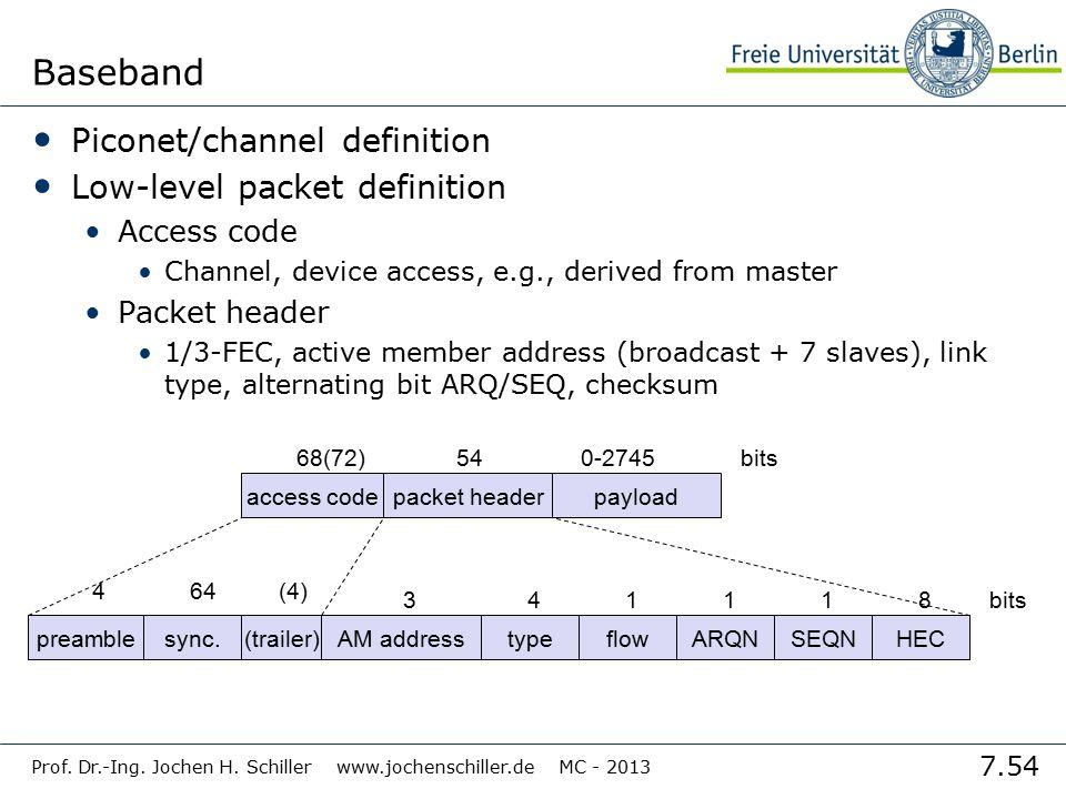 7.54 Prof. Dr.-Ing. Jochen H. Schiller www.jochenschiller.de MC - 2013 Baseband Piconet/channel definition Low-level packet definition Access code Cha