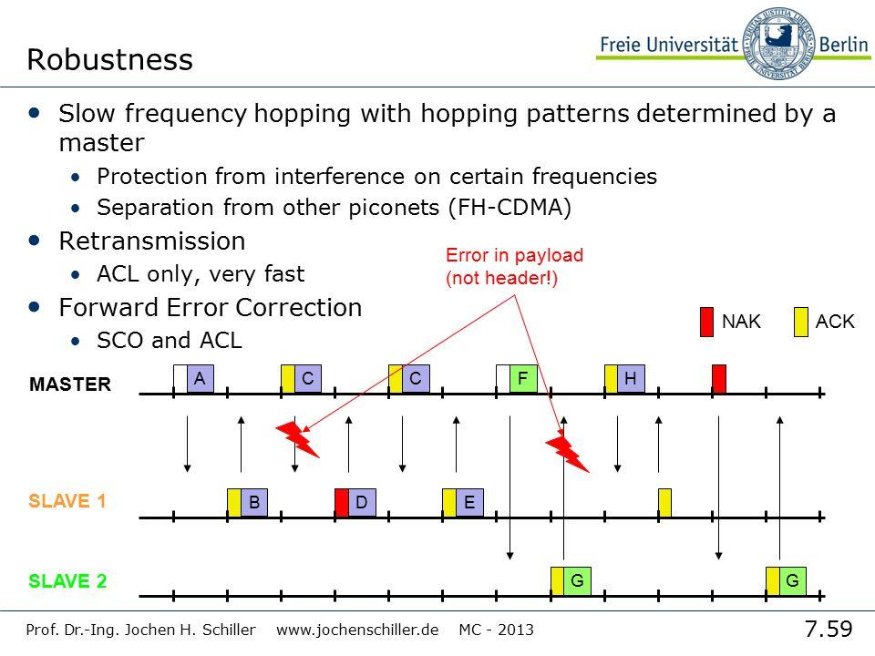 7.59 Prof. Dr.-Ing. Jochen H. Schiller www.jochenschiller.de MC - 2013 Robustness Slow frequency hopping with hopping patterns determined by a master