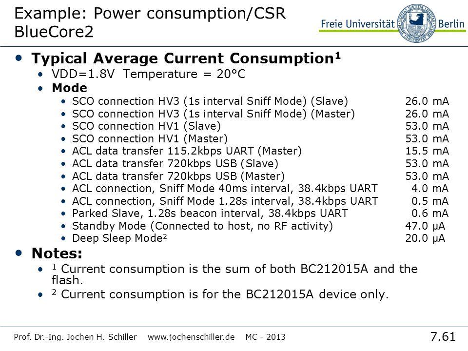 7.61 Prof. Dr.-Ing. Jochen H. Schiller www.jochenschiller.de MC - 2013 Example: Power consumption/CSR BlueCore2 Typical Average Current Consumption 1