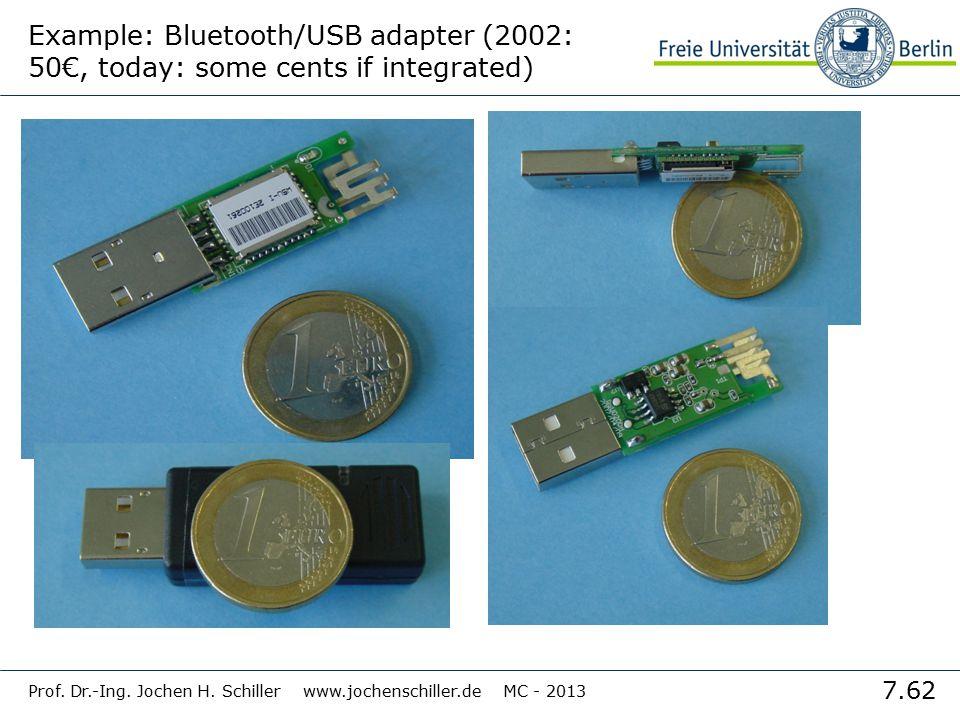 7.62 Prof. Dr.-Ing. Jochen H. Schiller www.jochenschiller.de MC - 2013 Example: Bluetooth/USB adapter (2002: 50€, today: some cents if integrated)