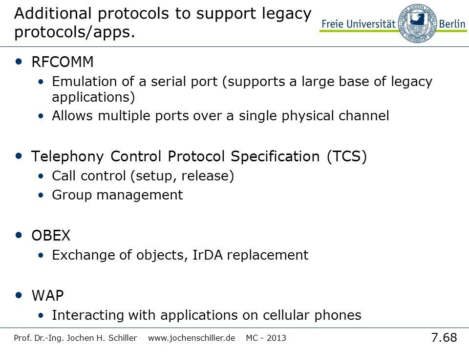 7.68 Prof. Dr.-Ing. Jochen H. Schiller www.jochenschiller.de MC - 2013 Additional protocols to support legacy protocols/apps. RFCOMM Emulation of a se