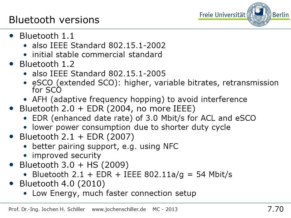 7.70 Prof. Dr.-Ing. Jochen H. Schiller www.jochenschiller.de MC - 2013 Bluetooth versions Bluetooth 1.1 also IEEE Standard 802.15.1-2002 initial stabl