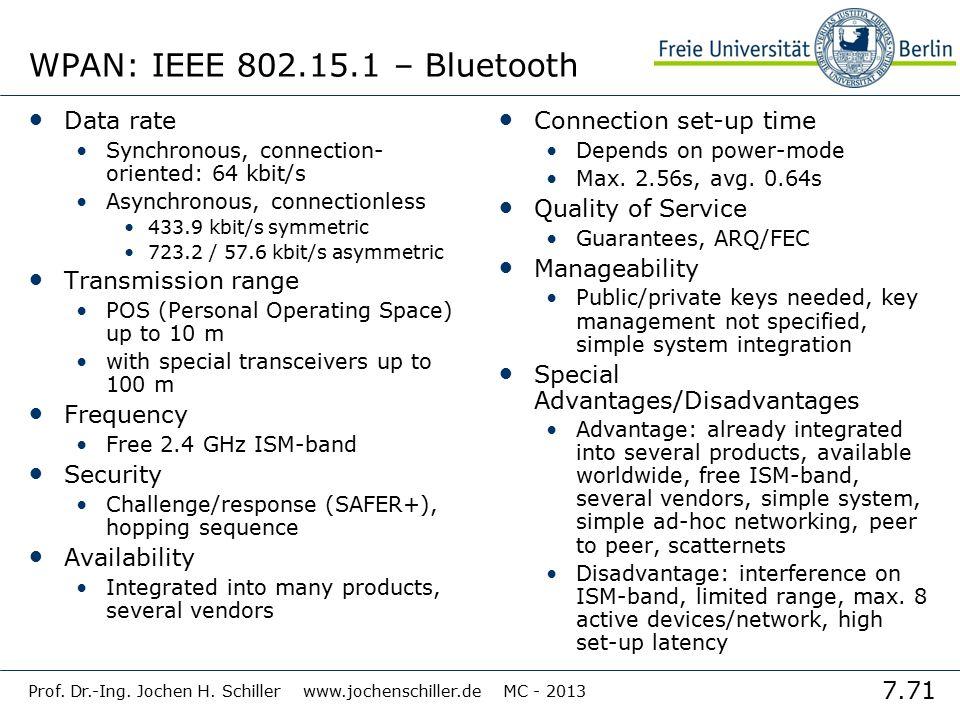 7.71 Prof. Dr.-Ing. Jochen H. Schiller www.jochenschiller.de MC - 2013 WPAN: IEEE 802.15.1 – Bluetooth Data rate Synchronous, connection- oriented: 64