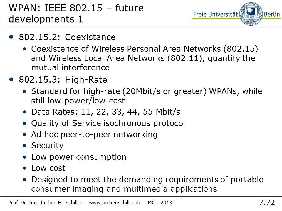 7.72 Prof. Dr.-Ing. Jochen H. Schiller www.jochenschiller.de MC - 2013 WPAN: IEEE 802.15 – future developments 1 802.15.2: Coexistance Coexistence of