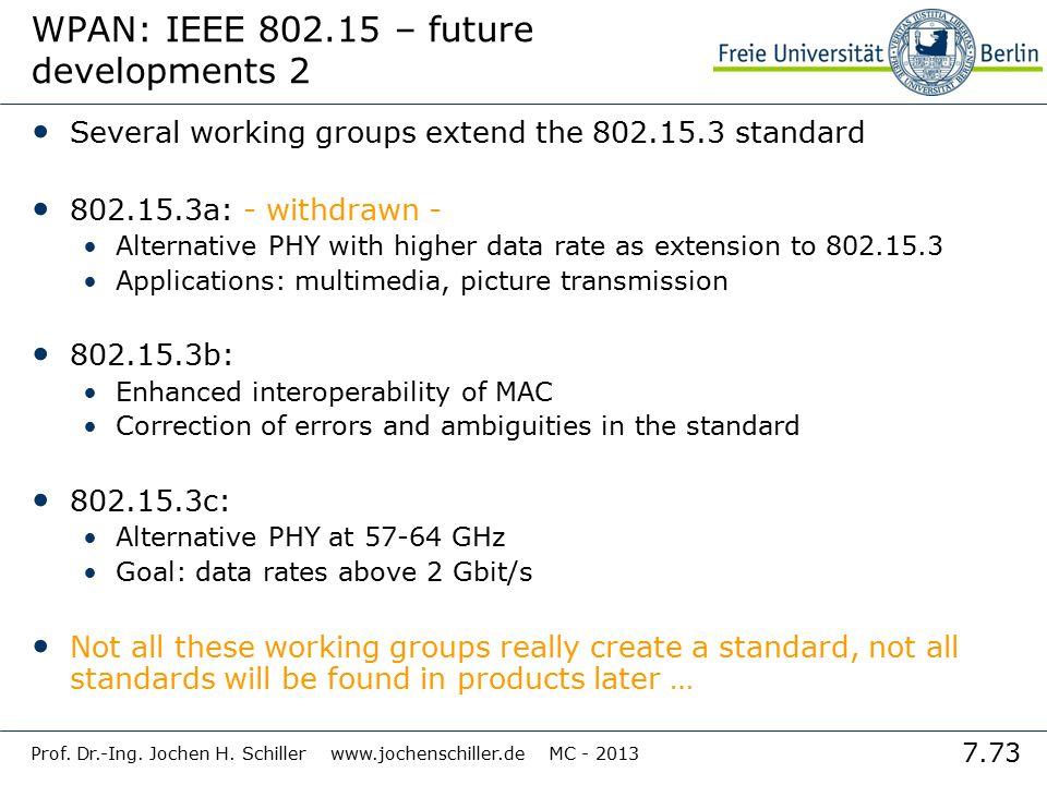 7.73 Prof. Dr.-Ing. Jochen H. Schiller www.jochenschiller.de MC - 2013 WPAN: IEEE 802.15 – future developments 2 Several working groups extend the 802