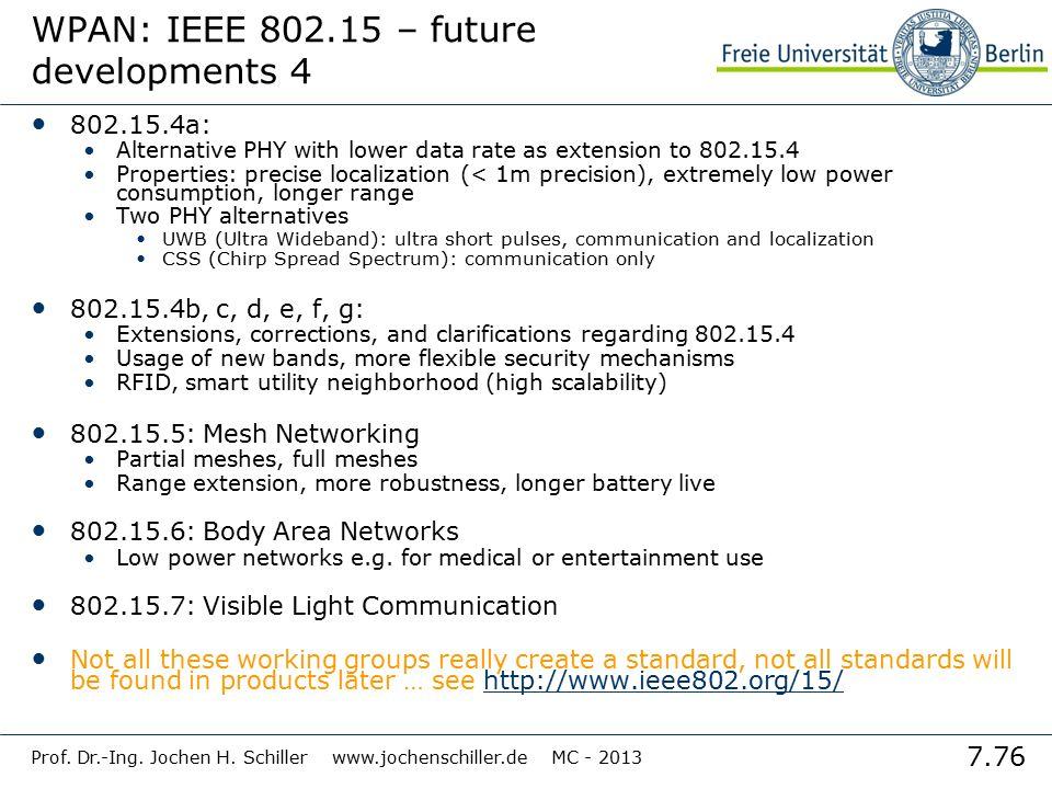 7.76 Prof. Dr.-Ing. Jochen H. Schiller www.jochenschiller.de MC - 2013 WPAN: IEEE 802.15 – future developments 4 802.15.4a: Alternative PHY with lower