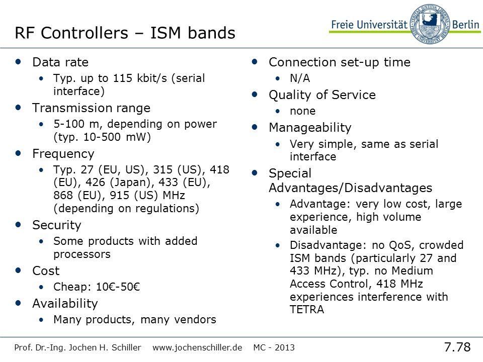 7.78 Prof. Dr.-Ing. Jochen H. Schiller www.jochenschiller.de MC - 2013 RF Controllers – ISM bands Data rate Typ. up to 115 kbit/s (serial interface) T