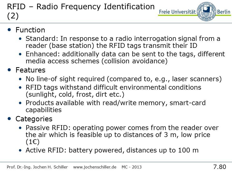 7.80 Prof. Dr.-Ing. Jochen H. Schiller www.jochenschiller.de MC - 2013 RFID – Radio Frequency Identification (2) Function Standard: In response to a r