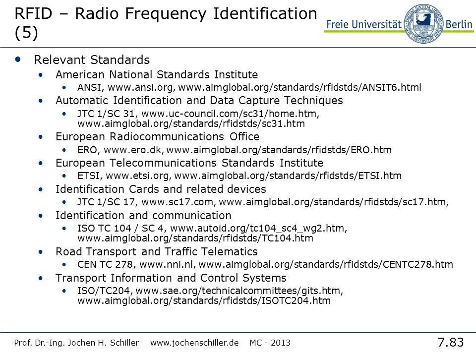 7.83 Prof. Dr.-Ing. Jochen H. Schiller www.jochenschiller.de MC - 2013 RFID – Radio Frequency Identification (5) Relevant Standards American National