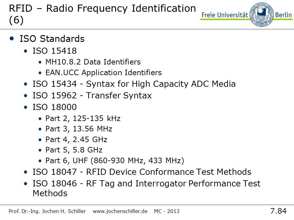 7.84 Prof. Dr.-Ing. Jochen H. Schiller www.jochenschiller.de MC - 2013 RFID – Radio Frequency Identification (6) ISO Standards ISO 15418 MH10.8.2 Data