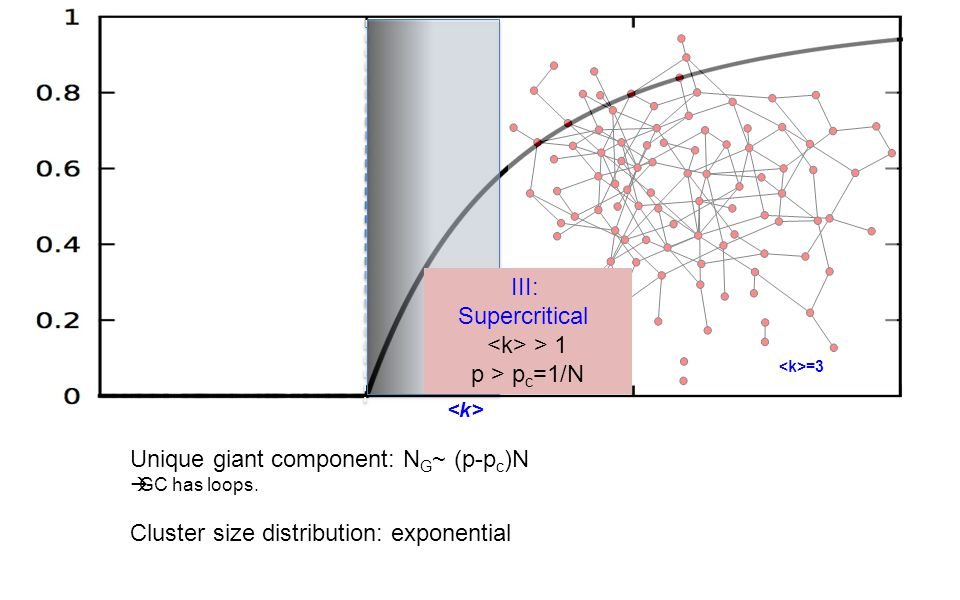=3 Unique giant component: N G ~ (p-p c )N  GC has loops.