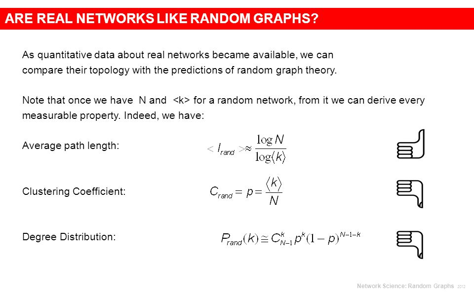 As quantitative data about real networks became available, we can compare their topology with the predictions of random graph theory.