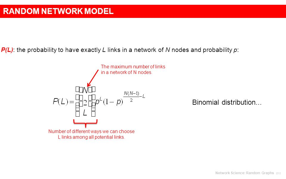 RANDOM NETWORK MODEL P(L): the probability to have exactly L links in a network of N nodes and probability p: The maximum number of links in a network of N nodes.