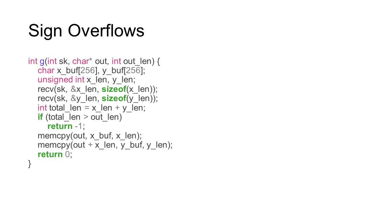 Sign Overflows int g(int sk, char* out, int out_len) { char x_buf[256], y_buf[256]; unsigned int x_len, y_len; recv(sk, &x_len, sizeof(x_len)); recv(s
