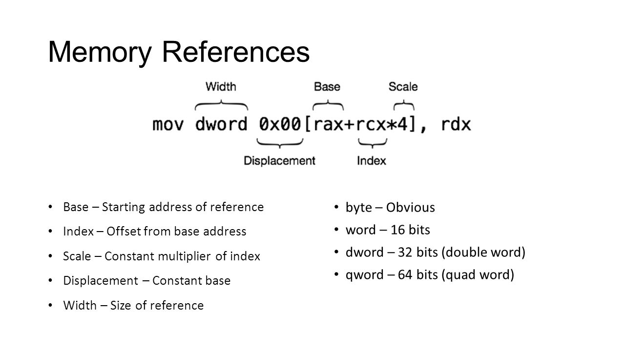 Memory References Base – Starting address of reference Index – Offset from base address Scale – Constant multiplier of index Displacement – Constant b