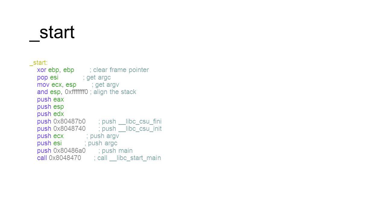 _start _start: xor ebp, ebp ; clear frame pointer pop esi ; get argc mov ecx, esp ; get argv and esp, 0xfffffff0 ; align the stack push eax push esp p