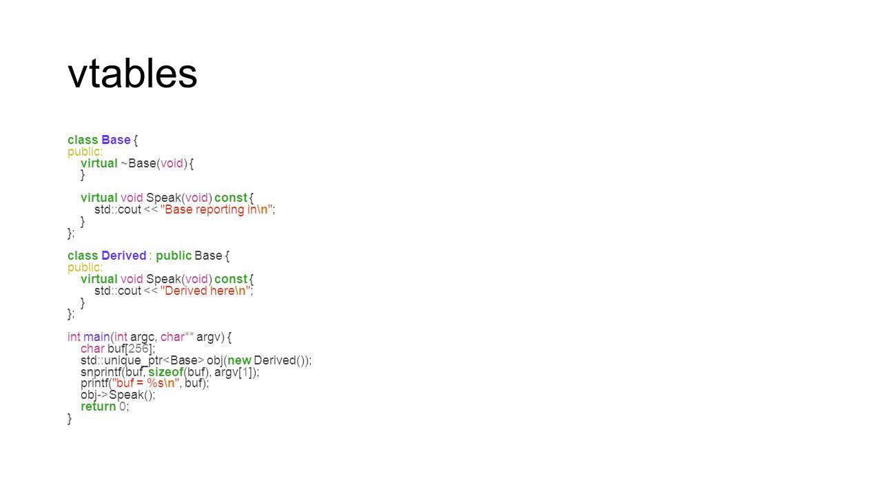 vtables class Base { public: virtual ~Base(void) { } virtual void Speak(void) const { std::cout <<