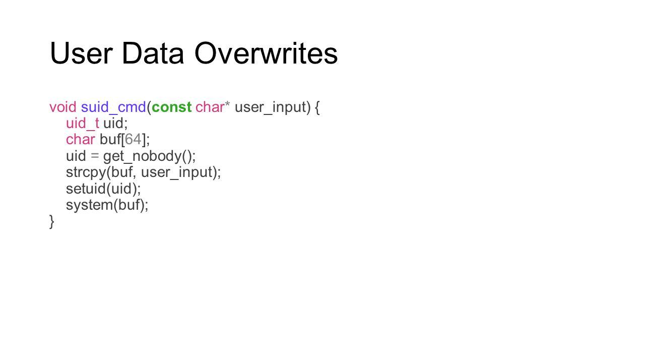 User Data Overwrites void suid_cmd(const char* user_input) { uid_t uid; char buf[64]; uid = get_nobody(); strcpy(buf, user_input); setuid(uid); system