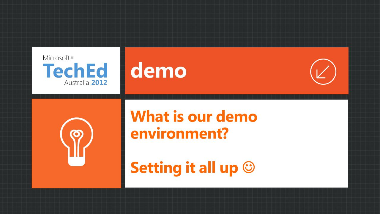 demo What is our demo environment Setting it all up
