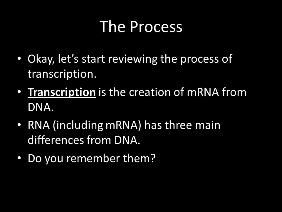 The Process Okay, let's start reviewing the process of transcription.