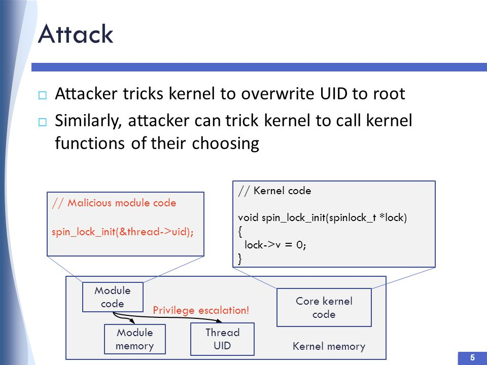 Attack  Attacker tricks kernel to overwrite UID to root  Similarly, attacker can trick kernel to call kernel functions of their choosing 5 // Kernel code void spin_lock_init(spinlock_t *lock) { lock->v = 0; } Module code Kernel memory Module memory Core kernel code // Malicious module code spin_lock_init(&thread->uid); Thread UID Privilege escalation!