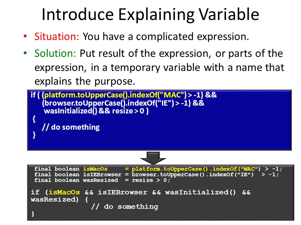 19 Introduce Explaining Variable Situation: You have a complicated expression.