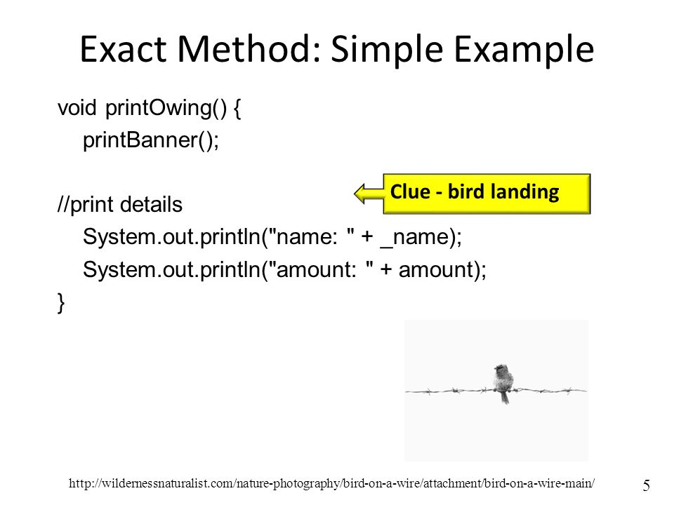 5 Exact Method: Simple Example void printOwing() { printBanner(); //print details System.out.println( name: + _name); System.out.println( amount: + amount); } Clue - bird landing http://wildernessnaturalist.com/nature-photography/bird-on-a-wire/attachment/bird-on-a-wire-main/